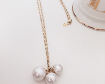 Three Big Cotton Pearl Long  Necklace