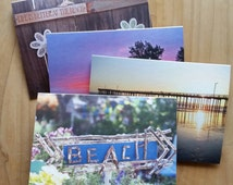 Set of 4 note cards with envelopes, Beach