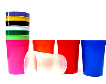 44 Small 12 Ounce Plastic Drinking Glasses, 4 Each Color, Made in America, Great for Personaization for Birthday's Parties.