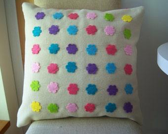 felt flowers wool pillow
