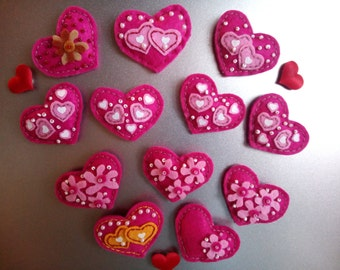 magnets handmade - pink heart - souvenirs - made for home decoration and declarations of love
