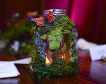 Stunning Moss Mason Jar Table Numbers