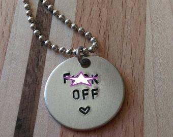 """Handstamped """"F*** Off <3"""" Necklace"""