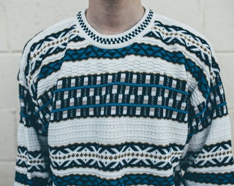 vintage 80's blue and gold sweater