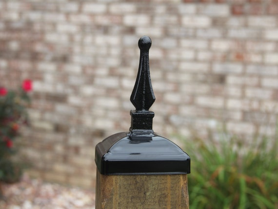 Small Quad Spear Fence Post Cap Wrought Iron 4x4 Post Cap For