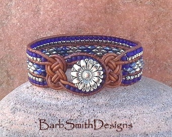 Blue Cobalt Silver Beaded Leather Wrap Cuff Bracelet - The Knotty One in Cobalt - Customize It!