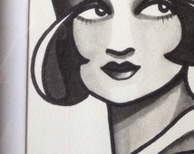 Original tattoo design flash Lady face flapper • FREE SHIPPING