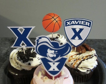 Cupcake toppers, party supplies, Xavier Musketeers, basketball, sports theme, NCAA, March Madness, college