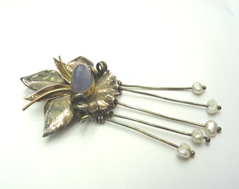 Sapphire Gold Silver Orchid Pin Pendant
