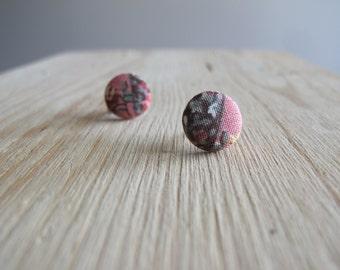 Half & Half Floral Button Earrings