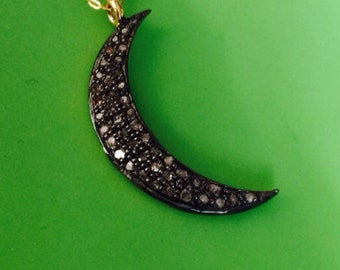 Diamond pave crescent moon charm pendant oxidized sterling silver 24K goldvermeil only one
