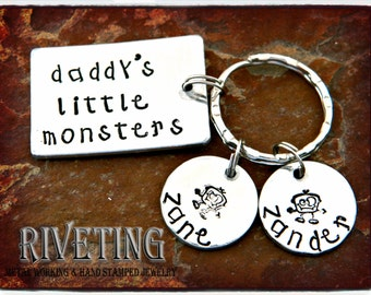Daddy's Little Monsters Hand Stamped Key Chain