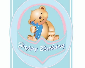 Personalised and Printable Happy birthday Baby Card
