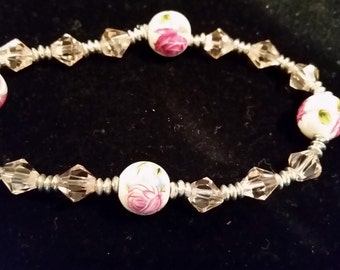 Bracelet; Porcelain Rose Beads with clear crystal beads