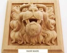 Renaissance Lion High Quality Carved Mask Wood Oak Beech Decor Hand-carved Animals