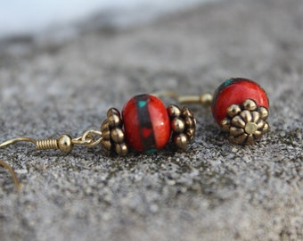 Drop earrings, inlaid turquoise and coral