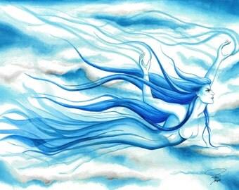 Ether air spirit,fantasy art, fantasy artwork,artwork,art prints,prints for sale,fantasy paintings,blue,blue hair,gift ideas,blue art, gifts