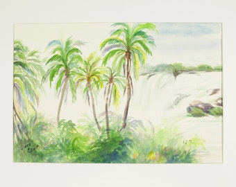 ORIGINAL painting, watercolor, water, waterfall, palm trees, tropical, rocks, scenic, nature, gift art, 18x24/mounted 22x28