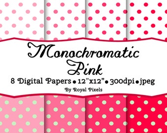 8 Digital Paper Backgrounds - Monochromatic Pink - Dots - Instant Download - Printable or Digital Paper - Scrapbook Supplies #47