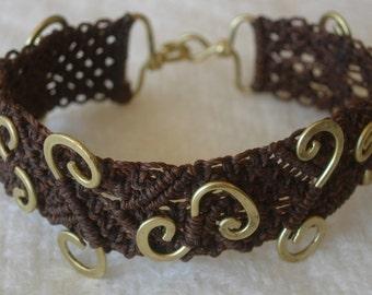 "Micro Macrame & Brass Bracelet, ""Bold As"""