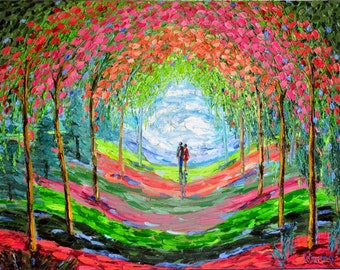 Original Oil Painting Walk in the Spring Forest Landscape Textured oil Couple in love blooming trees Sakura gift for her Pair Modern Art