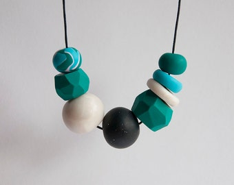 Funky Handmade Polymer Clay Bead Necklace - Peppermint, Emerald, Mother of Pearl & Stardust