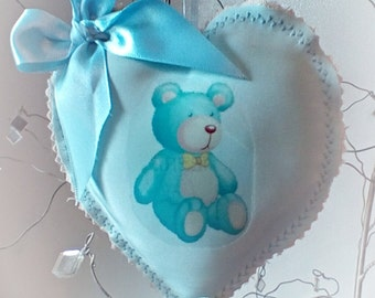 Blue Lavender teddy bear heart