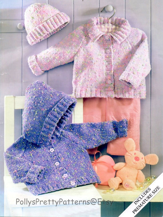 Knitting Pattern Child s Hooded Jacket : PDF Knitting Pattern Babys/Childs Hooded Jacket