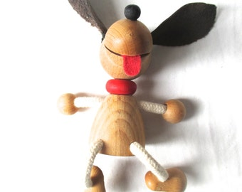 Vintage Wooden Toy Toy Dog Vintage Dog Shelf Decor Dachshund Wood Figurine 1970 70s