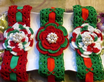 Holidays Crochet headbands -Christmas Red, Green & White