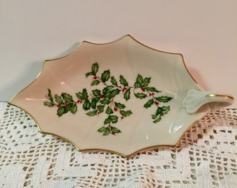 Lenox Holly Berry Leaf Dish/Gold Trim with Handle/1976