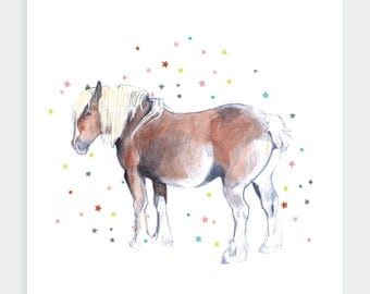 Watercolour Horse, Horse Greeting Card, Pony, Illustration, Painting, Birthday Card, Horse