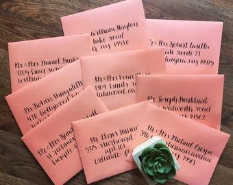 Hand-Lettered Address Envelopes- Wedding Envelopes, Calligraphy Envelopes, Save the Date Envelopes, Envelope Addressing