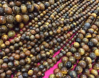 """4mm-12mm Tiger Eye Beads -15"""" Strand,Round Tiger Eye Beads,Tiger Eye Beads,12mm Tiger Eye Beads,10mm Tiger Eye, 6mm Tiger Eye 8mm Tiger Eye"""