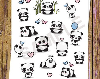 18 Kawaii Panda Planner Stickers Cute Panda Stickers Decorative Planner Stickers Heart Stickers Butterfly Stickers Icon Stickers Planning S2