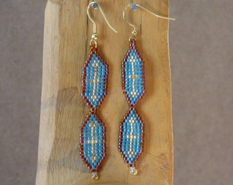 Blue and Gold Seed Bead Dangle Earrings