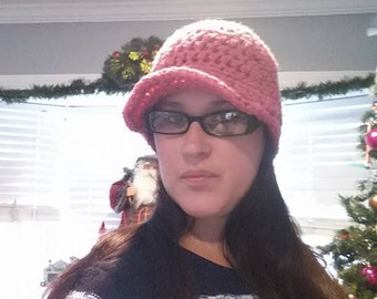 Crochet Newsboy Hat, Crochet Brimmed Beanie, Womens Newsboy Hat, Winter Fashion, Newsboy Hat