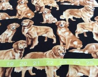 Timeless Treasure Golden Retriever Dog  Fabric by the half yard