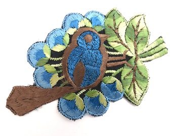 1930s  Bird Applique, Vintage Embroidered Bird  applique, application, patch. Vintage patch, sewing supply.  #642GC1K6