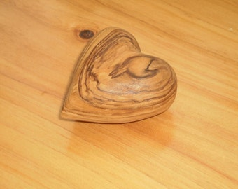 Olive wood heart handmade  , wooden heart carved , heart gifts . wooden heart , wooden craft heart, gift for her 50th