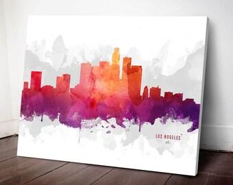 Los Angeles Skyline Canvas, Los Angeles Print, Los Angeles Art, Los Angeles Gift, Los Angeles Cityscape, MMR-USCALA04C