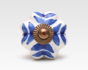 Hand painted ceramic knob, blue on white, vintage