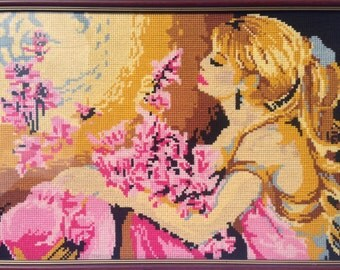"""Spring cross pattern """"A young girl with pink flowers and a hat"""""""