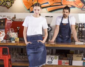 Denim WAIST Apron | Waiter Apron | Barista Apron | Chef Apron | BBQ Apron - U3045