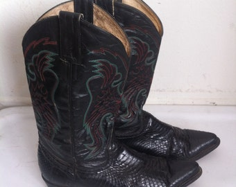 Black men's cowboy boots, from real snake leather, soft leather, vintage style, western boots, old boots, retro boots, men's size 9 1/2.