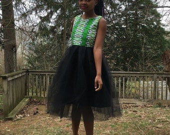 African print tulle dress