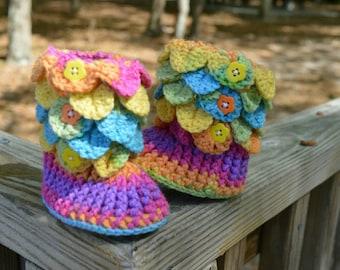 Crochet Crocodile stitch booties. Baby booties,  crochet booties. Crochet baby shoes