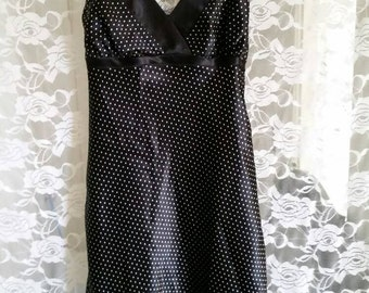 Sleek 80s 90s polka dot slipdress~~50%off!!!