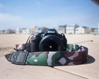 Camera Strap - Camo design strap for DSLR or SLR camera, DSLR Camera Strap, Camera accessories. Canon, Nikon camera strap, Camouflage.