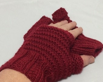 Fingerless driving gloves in red #1021